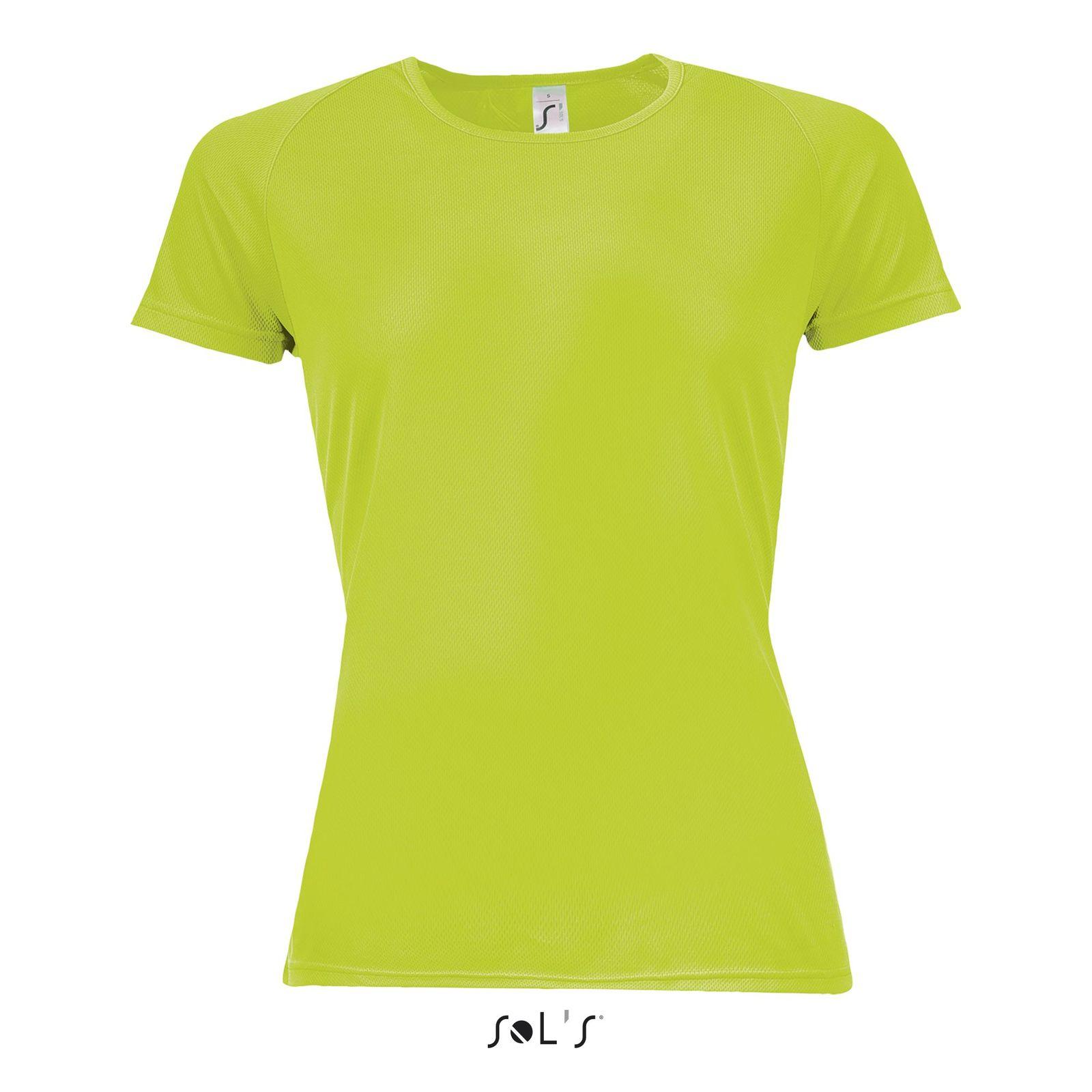 1068d67f042c0 ... Tee-shirt publicitaire femme manches raglan   Sporty Women Vert fluo ...