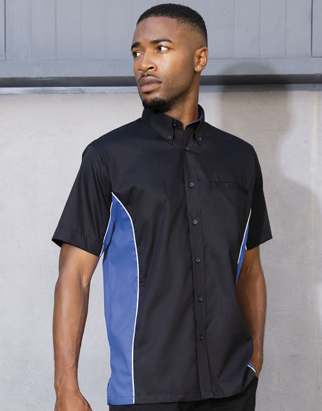 Polo publicitaire homme manches courtes | Winslow Black Royal White 2