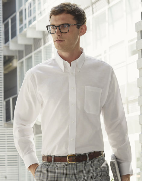 Chemise homme manches longues oxford publicitaire | Oxford Shirt Long Sleeve White 3