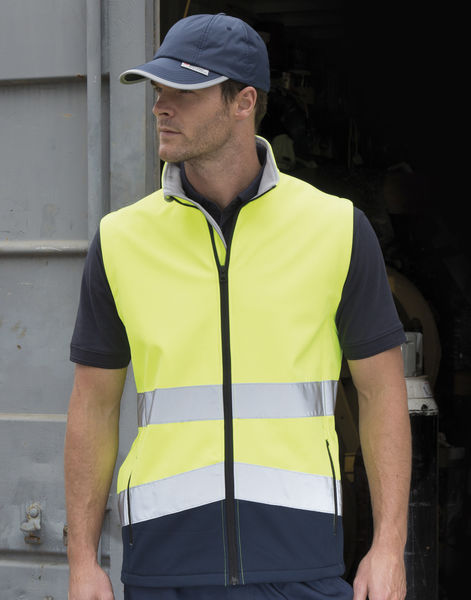 Gilet softshell high viz publicitaire | Printable Safety Fluorescent Yellow Black 2