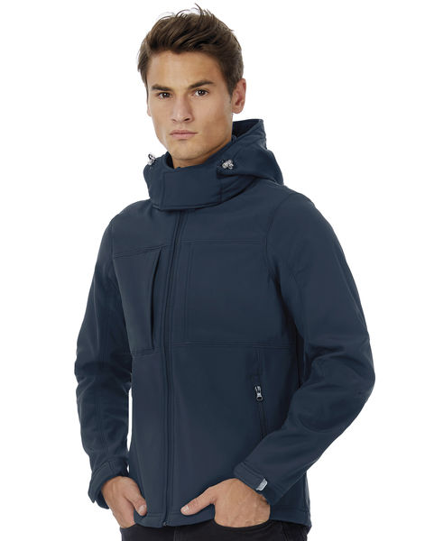 Veste softshell capuche homme publicitaire | Hooded Softshell men Navy 2