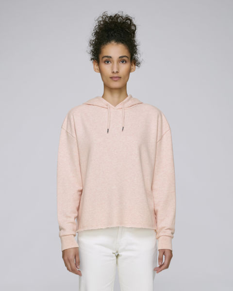 Sweat-shirt capuche court femme | Stella Reduces Cream Heather Pink