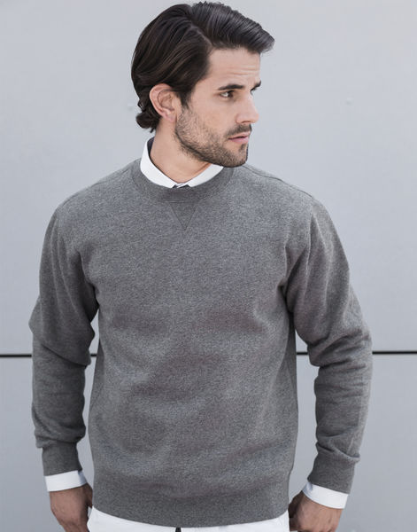 Sweat-shirt col rond chiné publicitaire | James River  Carbon Melange 4