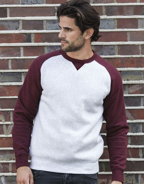 Sweat-shirt col rond publicitaire | Belt Light Oxford Burgundy Melange 4