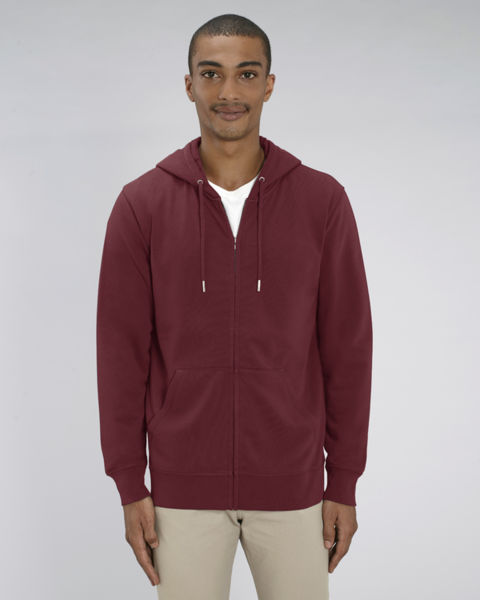 Sweat-shirt zippé capuche essentiel unisexe  | Connector Burgundy 1