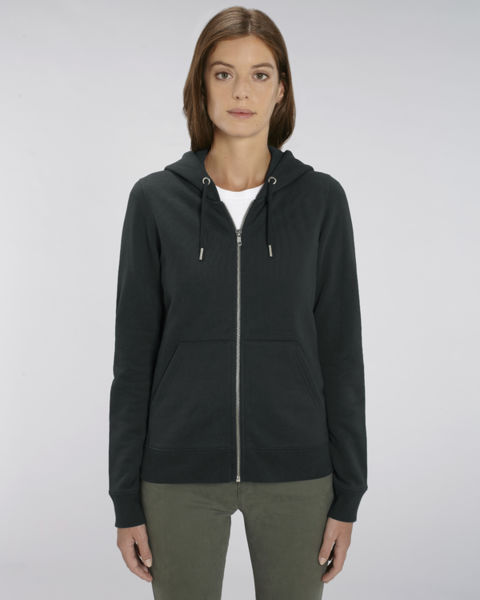 Sweat-shirt zippé capuche iconique femme | Stella Editor Black