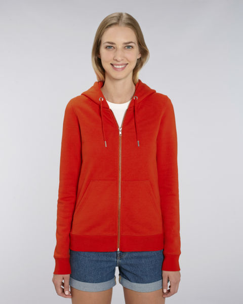 Sweat-shirt zippé capuche iconique femme | Stella Editor Bright red