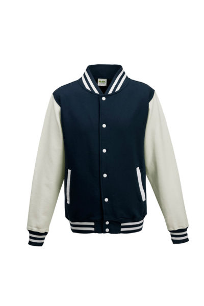 Sweats pub VARSITY JACKET JH043 Oxford Marine Blanc