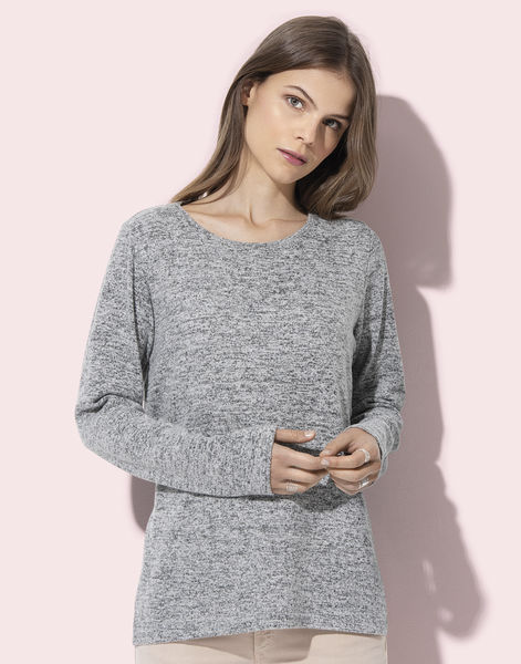 Sweatshirt publicitaire femme manches longues | Knit Sweater Women Light Grey Melange