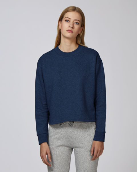 Sweat-shirt court femme | Stella Realizes Black Heather Blue
