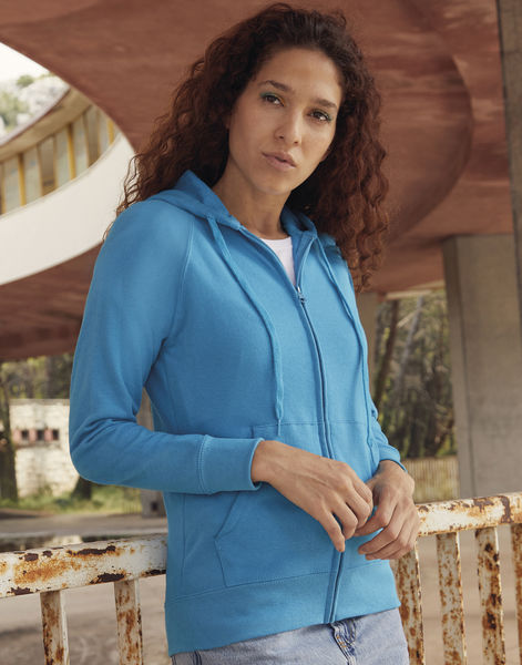 Sweatshirt publicitaire femme manches longues avec capuche | Ladies Lightweight Hooded Sweat Jacket Azure Blue 2