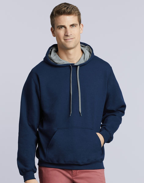 Sweat-shirt à capuche constrasté heavy blend™ publicitaire | Waterville Navy Sport Grey 2