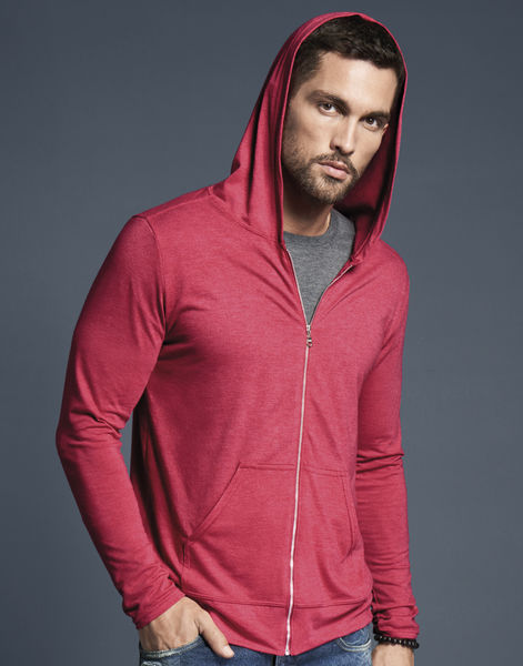 T-shirt publicitaire homme manches longues avec capuche | Adult Tri-Blend Full Zip Hooded Jacket  Heather Red 3