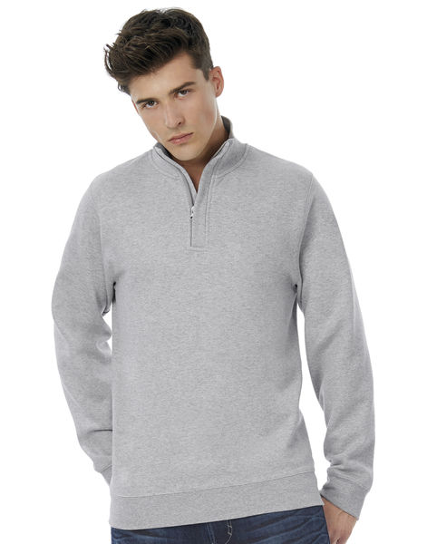 Sweatshirt publicitaire manches longues | ID.004 Cotton Rich 1 4 Zip Sweat Heather Grey 2