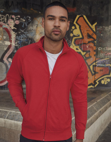Veste publicitaire homme manches longues raglan | Lightweight Sweat Jacket Red 2
