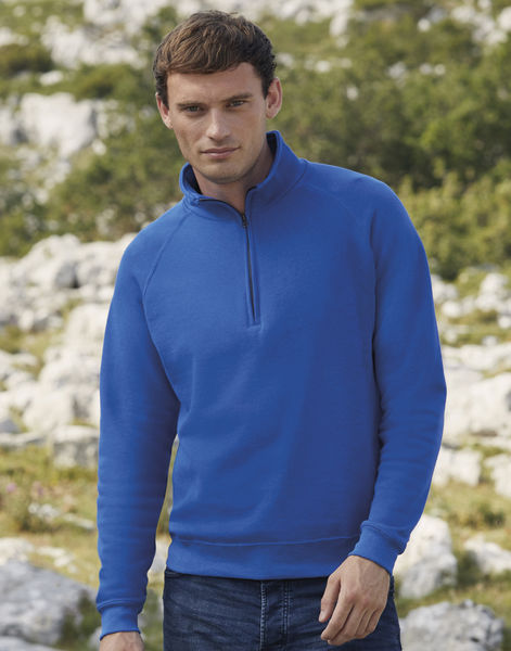 Sweatshirt publicitaire manches longues raglan | Zip Neck Sweat Royal Blue 2