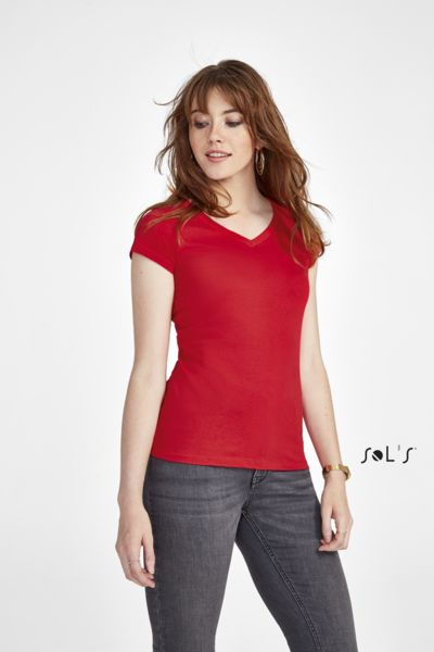 Tee-shirt publicitaire femme col V | Moon
