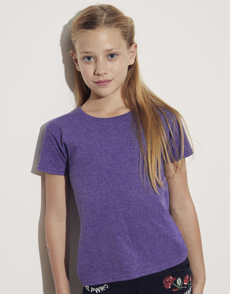 T-shirt publicitaire enfant manches courtes cintré | Girls Iconic T Heather Purple 2