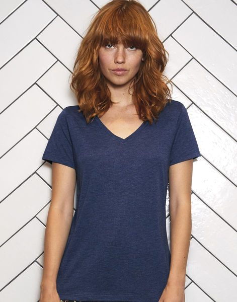 T-shirt triblend col v femme personnalisé | V Triblend women Heather Navy
