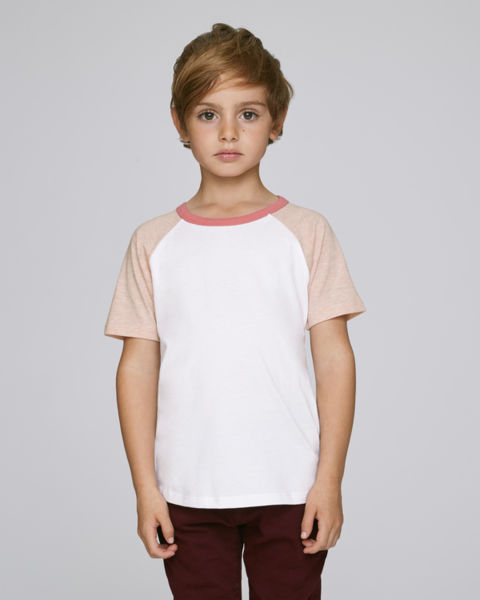 T-shirt manches contrastées enfant | Mini Jump Short Sleeve White Cream Heather Pink Flamingo Pink