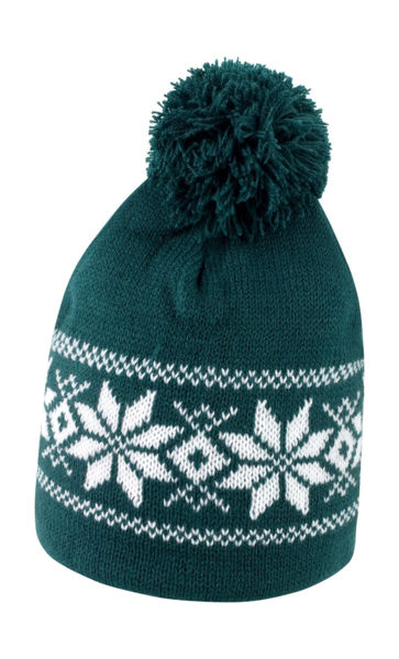 Bonnet fair isles personnalisé | Fair Knitted Arctic Green White