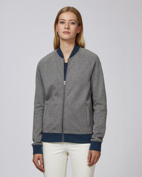 Sweat-shirt  zippé bomber unisexe | Bound Mid Heather Grey Bound Navy