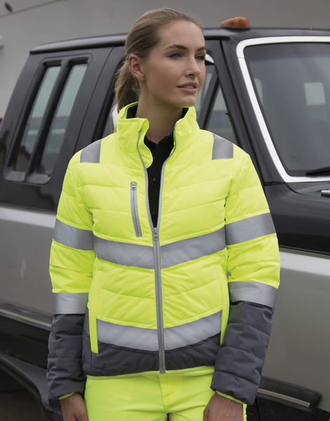 Veste publicitaire femme manches longues | Women`s Soft Padded Safety Fluo Yellow Grey 2