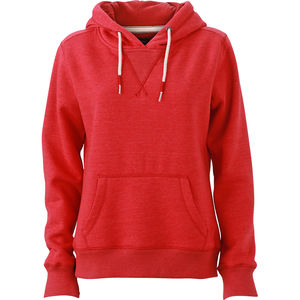 Sweat-Shirt professionnel chiné à capuche Femme  rouge