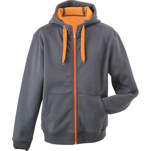Sweat-Shirt professionnel uni à capuche Femme  carbone orange